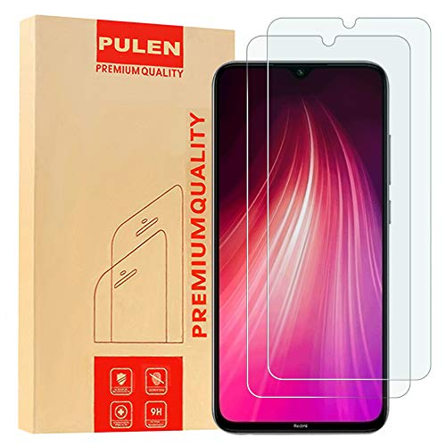 [2-Pack] PULEN for Xiaomi Redmi Note 7 and Redmi Note 8 Screen Protector,HD Clear Scratch Resistance Bubble Free 9H Hardness Tempered Glass (6.3 Inch) (Glass Screen Protector For Note 4)