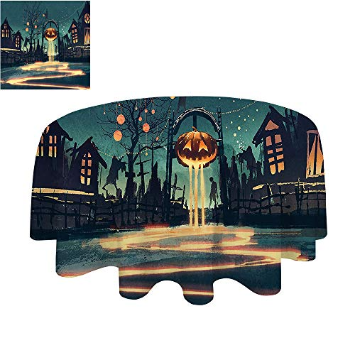 SATVSHOP Modern tablecloth-40Inch-Indoor or Outdoor Party.Fantasy Art House Halloween Theme Night Pumpkin and Haunted House Ghost Town Artful Teal Orange. ()