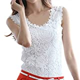 Fedi Elegant Fashion Summer Women Lace Crochet Vest Tank Top Shirt Blouse Sleeveless, White, Medium