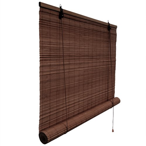 Bambusrollo 90 x 220 cm in dunkelbraun - Fenster Sichtschutz Rollos - VICTORIA M