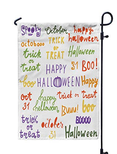 GROOTEY Thanksgiving Garden Flag,Home Yard Decorative 12X18 Inches Handdrawn Halloween Lettering Set Isolated White Background Words Greeting Card Banner Poster Double Sided Seasonal Garden Flags]()