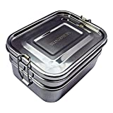 Brandenburg Classic Stainless Steel Bento Box, Eco-Friendly Lunch Box, 3-in-1 Food Container - Extra Large Size, Compact Tiffin Design, Kid and Adult Friendly