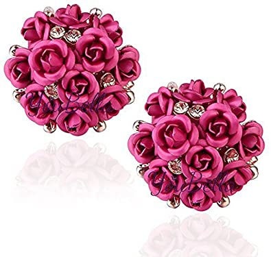 buy youbella rose shape pink gold plated earrings for women online