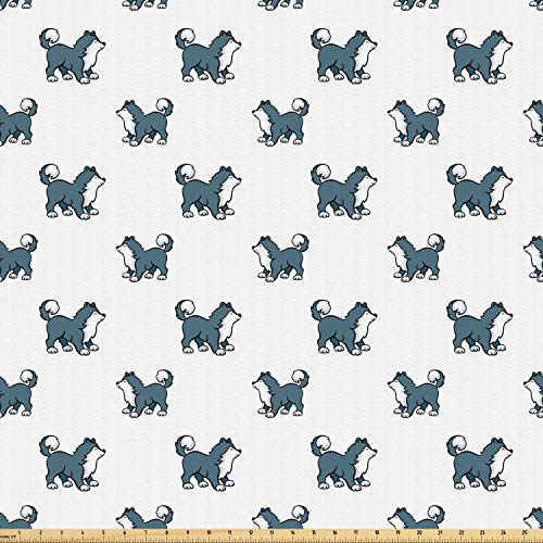 Ambesonne Dog Fabric by The Yard, Husky Puppy Siberian Energetic Pet Alaskan Origin Sketch Style Cartoon Cold, Microfiber Fabric for Arts and Crafts Textiles & Decor, 1 Yard, Blue Grey Black White