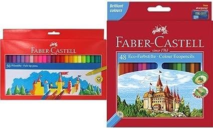 Faber-Castell - Pack 50 rotuladores multicolor + 48 lápices de ...