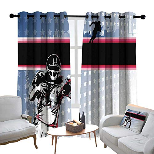 Lewis Coleridge Bedroom Curtain Americana Decor,Baseball American Football Player Running in The Field with Stars Pattern,Multicolor,Insulating Room Darkening Blackout Drapes 54