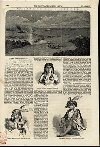 Borneo Natives Pirates Tattoos War Dress 1849 fascinating antique engraved print (Tattoo Borneo)