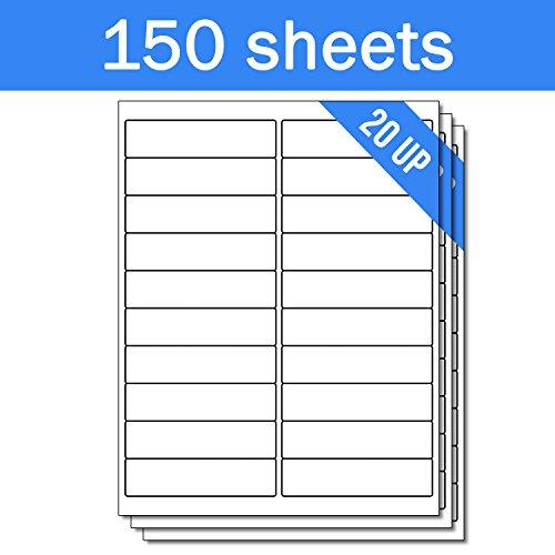 OfficeSmartLabels Rectangular 4 x 1 Address / Mailing Labels for Laser & Inkjet Printers, 4 x 1 Inch, 20 per sheet, White, 3000 Labels , 150 ()