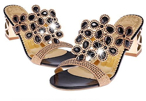 Dress Rhinestone Evening Women's DADAWEN Sandals Slide Chunky Heels Black Wedding BAvWYxWqFw