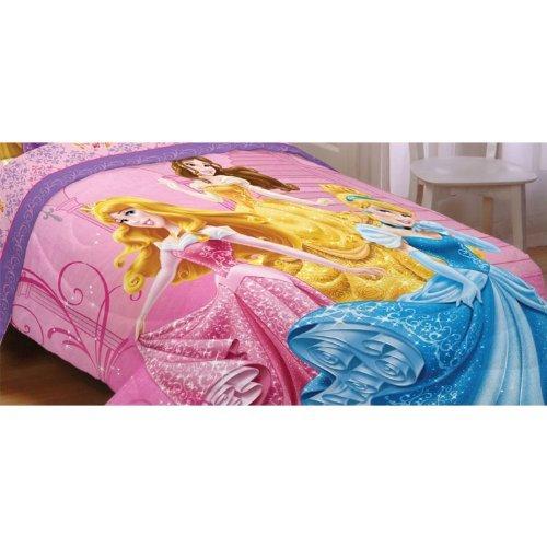 Disney Princesses Sparkling Elegance Reversible 72 by 86-Inch Comforter, Twin/Full