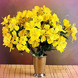 Inna-Wholesale Art Crafts New 6 Yellow Bushes Silk Mini PRIMROSES Decorating Flowers Bouquets Decorations Perfect for Any Wedding, Special Occasion or Home Office D?cor 120