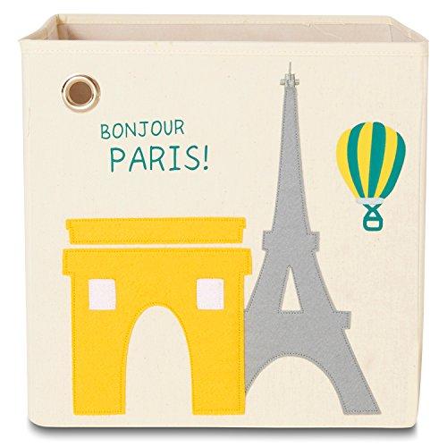 (kaikai & ash Toy Storage Bins, Foldable Canvas Cube Box for Kids, 13 inch - Paris)