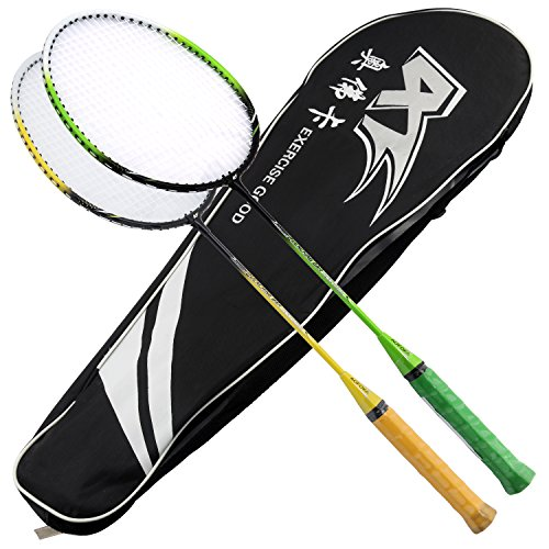 L.E.D STEP 2 Player Badminton Rackets Set Racket Combo Set Double 1 Carrying Bag Included (Yellow green)