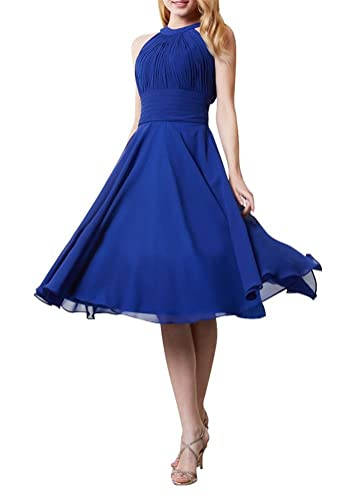 Always Pretty Women's Halter Backless Short Bridesmaid Cocktail Dresses