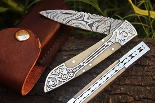 """DKC Knives Sale DKC-37-CB Victorian Damascus Folding Pocket Knife Camel Bone 7.75"""" Long, 4.5"""" Folded 3"""" Blade 4.8oz Hand Made Incredible Look and Feel"""
