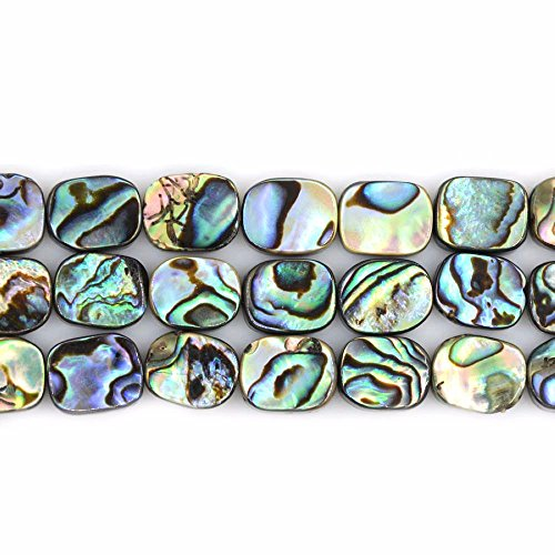 Shell Flat Rectangle Beads - Natural 10mm Abalone Shell Flat Rectangle Beads Strand 16