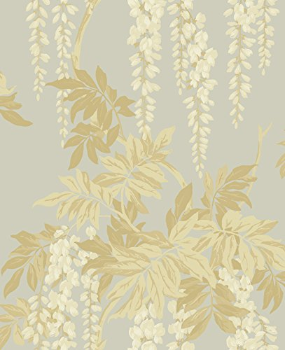 (Floral Wallpaper in Gold Silver Vintage Style)