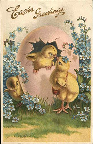 Easter Greetings - Chicks hatching from Pink Egg With Chicks Original Vintage Postcard ()