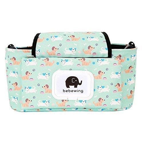 Baby Stroller Organizer Bag, Pram Buggy Organiser Storage Bag for Buggies, Diaper Bag Hanging Bottle Holder for Pushchair, with Velcro, Straps & Clips, Waterproof, Universal. (Green)