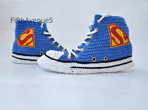 Handmade Cartoon Warm Cotton Crochet Slippers, Summer And Winter Breathable Casual Men and Women Funny Knitting Sock, Superheroes Canvas Sneakers Hi Tops -