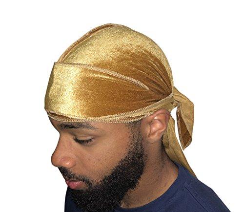 Velvet Premium Durag 360, 540, 720 Waves Extra Long Straps for Men Du-RAG (Gold)