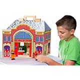 Deluxe Multi-level Wooden Fold & Go Fire Station with 2 Firefighters and 9-piece Furniture Set