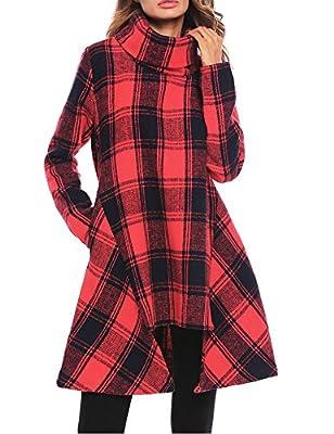 OD'lover Womens Plaid Dress Asymmetrical Turtleneck Long Sleeve Sweatshirts Midi Dress