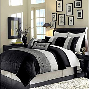 8 Piece Luxury Bedding Regatta comforter set Black / Grey / White Queen Size Bedding 94 X92