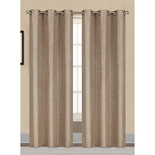 Window Elements Willow Textured Woven 76 x 96 in. Grommet Curtain Panel Pair, Natural