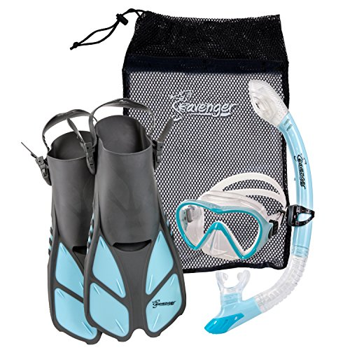 Snorkel Gear Set - Seavenger Diving Dry Top Snorkel Set with Trek Fin, Single Lens Mask and Gear Bag, S/M - Size 4.5 to 8.5, Gray/Dodger Blue