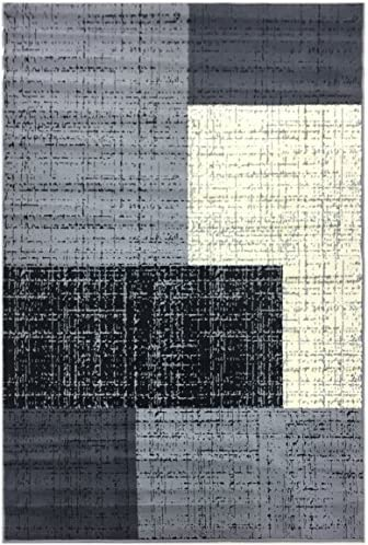 Conur Collection Squares Geometric Abstract Area Rug Rugs Modern Contemporary Area Rug 2 Color Options Grey Black , 3 3 x 4 11