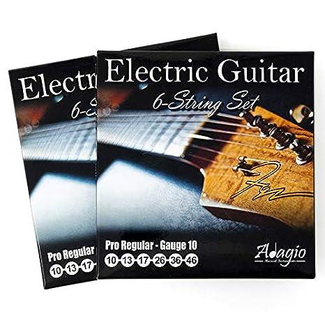 JUEGO DE 2 S! Adagio cuerdas para guitarra eléctrica Profesional 10-46: Amazon.es: Electrónica