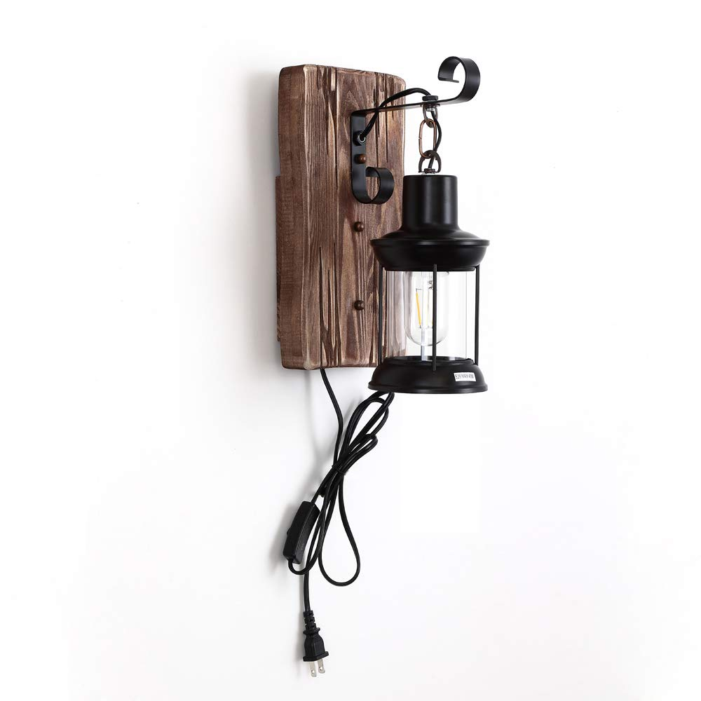 Wood Wall Sconce Lighting Fixture with Glass Shade and Switch Decorate for The Dining Room/Bedroom Bedside/Bathroom Wall Lamp E26 40W