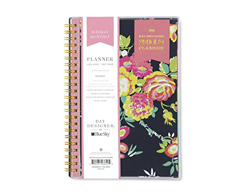 "Blue Sky Day Designer 2018 Weekly & Monthly Planner, Twin-Wire Binding, 5"" x 8"", Peyton Navy - 103620"