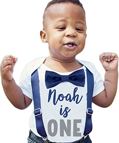 (Noah's Boytique Personalized Name First Birthday Outfit Boy Gray and Navy Bow Tie Suspenders and Number One Cake Smash Outfit 1st 18-24/24)