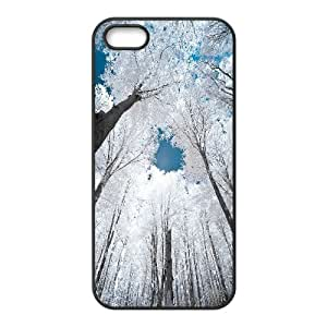 IPhone 5,5S Case Beautiful Nature After Snowing for Teen Girls Protective, Iphone 5s Case Luxury Binocara, [Black]