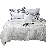 Tealp White Grid Duvet Cover Set,3 Piece 100% Cotton,Simple Style Lightweight Bedding Collection-White,Twin