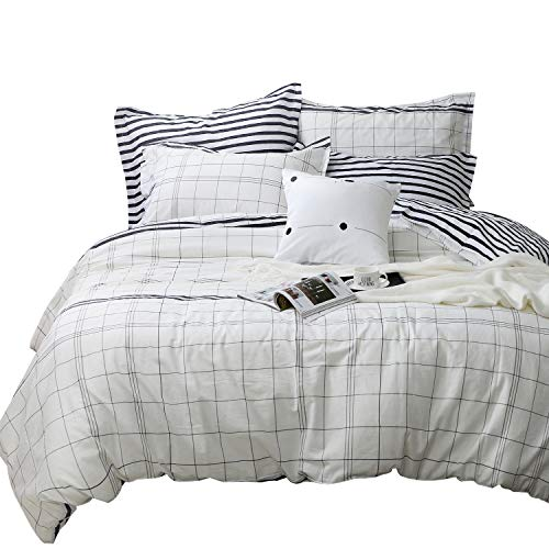 Tealp White Grid Duvet Cover Set,3 Piece 100% Cotton,Simple Style Lightweight Bedding Collection-White,Full -