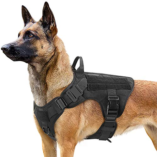 Rabbitgoo Tactical Dog Harness Vest Large with Handle, Military Working Dog Molle Vest with Metal Buckles & Loop Panels, No-Pull Adjustable Training Harness with Leash Clips for Walking Hiking Hunting