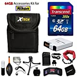 64GB Accessory Kit for Nikon Coolpix A900, S9900, S9700, S9500, S800c, AW130,S9300 S9200 S6300 S6200 S8200 includes 64GB High-Speed Memory Card + EN-EL12 Battery + AC/DC Charger + Fitted Case + Kit