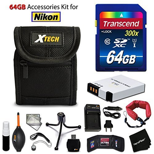 64GB Accessory Kit for Nikon Coolpix A900, S9900, S9700, S9500, S800c, AW130,S9300 S9200 S6300 S6200 S8200 includes 64GB High-Speed Memory Card + EN-EL12 Battery + AC/DC Charger + Fitted Case + Kit by HeroFiber