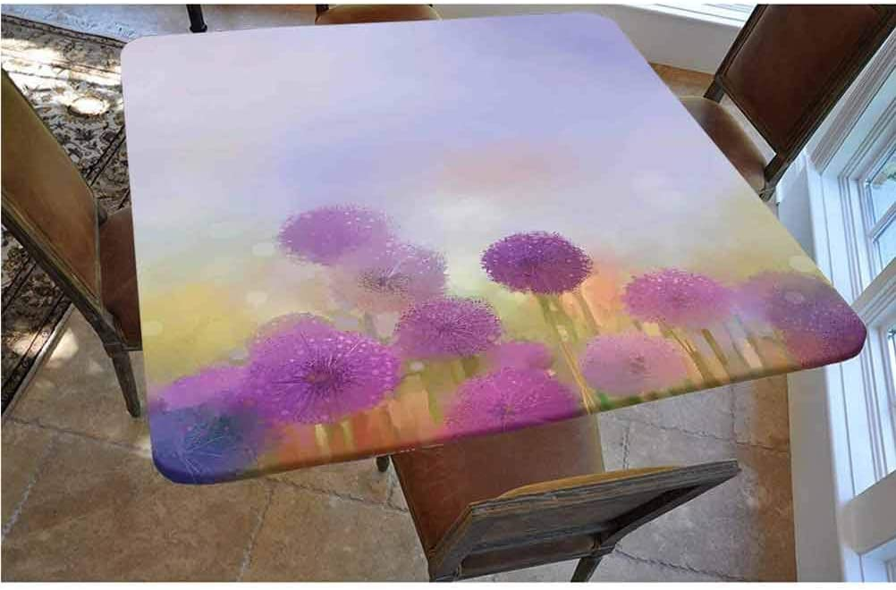 Watercolor Flower Home Decor Polyester Fitted Tablecloth,Onion in Meadow Pastoral Scenery at Springtime Illustration Square Elastic Edge Fitted Table Cover,Fits Square Tables 48x48 Purple Blue
