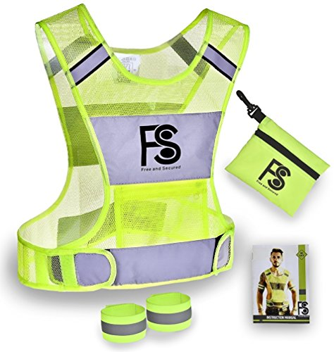 (Safety Reflective Vest for Running Walking Cycling - Nighttime and Daytime Visibility - High Visibility Lightweight Jogging Motorcycling Gear with 360 Reflector - Made of Polyester)