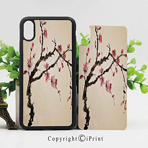 - iPhone x Case,Traditional Chinese Paint of Figural Tree with Details Brushstroke Effects Print Sturdy Non-Slip Case Lightweight Shell Protective for iPhone X,Pink Brown
