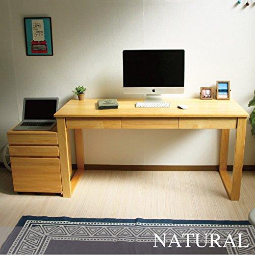 パソコンデスク 北欧 書斎机 学習机 ダイニングテーブル パイン材 140cm幅 2点セット 収納 木製 RP002+RP003 J-Supply B07BJYJZD9
