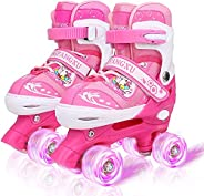 Adjustable Roller Skates with 8 Light up Wheels for Kids, Beginner Skates, Full Protection for Indoor Outdoor,