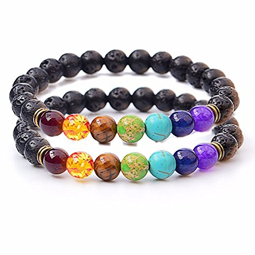 Set of 2 Handmade Couples Yoga Bracelets With Healing Reiki Gem Stone 7 Chakra Natural Matte Agate and Lava Stone For Men, Women, And Teenagers Perfectly Unique Gift For Valentines Day by Lavish Life (Image #1)