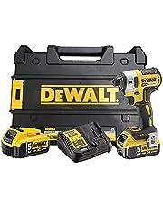 DeWalt XR sladdlös slagnyckel (18 volt, 5 Ah, 205 Nm vridmoment, 1/4 tums sexkantfäste, LED-diodring, inkl. 2 x batterier, 1 x systemmoddare, tillbehör och TSTAK-låda) DCF887P2