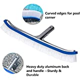 "Swimming Pool Wall & Tile Brush,18"" Polished Aluminum Back Pool Scrub Brush Head Designed for Cleans Walls, Tiles & Floors, Nylon Bristles Pool Brush Head with EZ Clips (Pole not Included)"