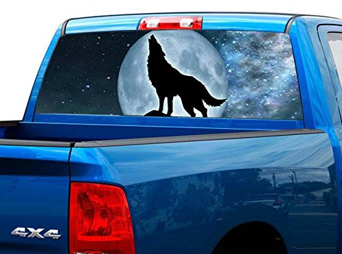 P429 Wolf Tint Rear Window Decal Wrap Graphic Perforated See Through Universal Size 65